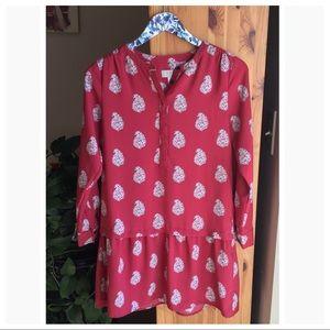 Loft Pink Paisley Drop Waist Dress, Size XSP